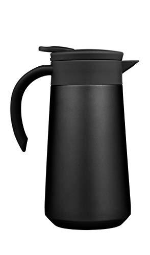 BOHORIA® Isolierkanne   Thermoskanne  Kanne für Kaffee, Tee & Wasser  Edelstahl   Quick Tip Verschluss   0,8 Liter (Black)