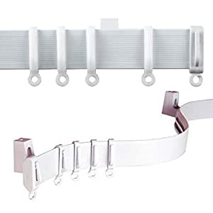 """C2B 500cm (196"""") Plastic Curtain Track, Strong, Bendable Track, Bay & Straight Windows Wall & Ceiling Mounted, Curtains & Shower Curtains Parts for 3 Tracks. Easily Cut Down to Size. Suitable for Curtains with Heading Tapes Pencil Pleat, Pinch Pleat"""