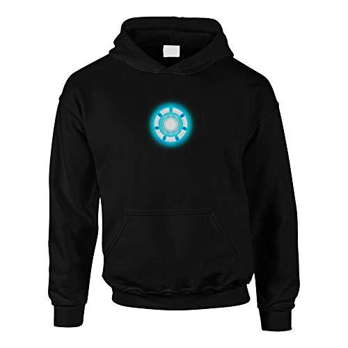 Shirtdepartment - Kinder Hoodie - Arc Reactor - Stark schwarz-Cyan 110-116