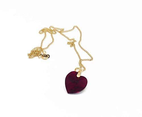 Cuore collana oro 14k riempito oro Swarovski rosso scarlatto rosa pesca arancione taupe regali natale compleanno gioiello cerimonia matrimonio ospiti festa della mamma damigella d'onore