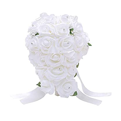 Feli546Bruce Ramo de Novia de Boda, 1 Ramo de Rosas Artificiales de estrás para decoración de Bodas, Bodas, Ramo de Damas de Honor, Ramo de Novia