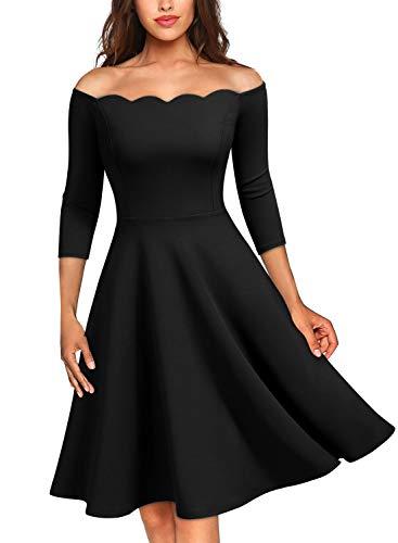 Miusol Damen Elegant Welle Kragen Off Schulter 3/4 Arm Größer Schwingen Rockabilly Kleid Schwarz Gr.L