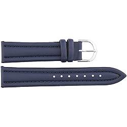 Watch Strap in Dark Blue PU - 20mm - - buckle in Silver stainless steel - B20BluItr76S