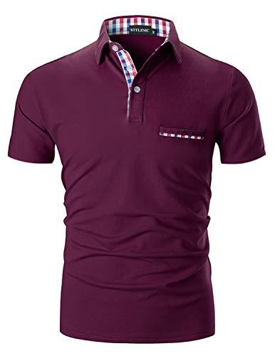 STTLZMC Casual Polo Hombre Mangas Corta Camisetas Deporte Algodón Clásico Plaid Cuello,Vino,L