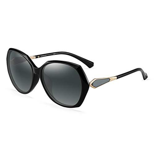 ZXW Sonnenbrillen- Sonnenbrillen Sonnenbrillen Damen Neue auffällige Persönlichkeit Flut Fahren Polarisierte Fahrspiegel Große Sonnenbrille (Farbe : Bright Black, größe : 14.3x14.7x5.8cm)