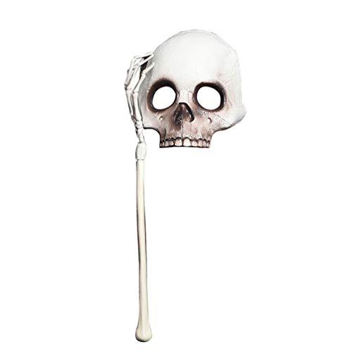 House Kostüm Cosplay - Happyyami Halloween Scary mask schädel halbe Gesichtsmaske auf Stick Hand Cosplay Maske für Haunted House Halloween Party kostüm Requisiten gefälligkeiten