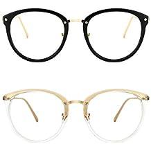 TIJN Retro Redonda Gafas Anteojos Gafas con Filtro de luz Azul para  Bloquear el Dolor de ef4880ebd8fe