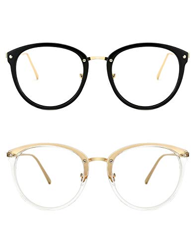 Tijn montature occhiali da vista rotondi vintage con montatura per occhiali senza prescrizione e lenti trasparenti per le donne