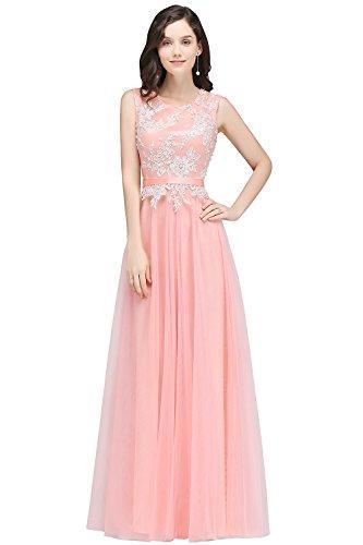 Damen Hochwertig Tüll Abschlusskleider,Lang Abendkleid, Ärmellos Lang Festkleid Rosa Gr.44