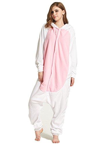 Dreamskull Schlafanzug Hausanzug Cartoon Cosplay KostümPyjama Jumpsuit Overall Einteiler Einhorn Tiere Winter Fleece Damen Mädchen Erwachsene Unisex Lang (L, Häschen) (Häschen Kostüme Für Erwachsene)