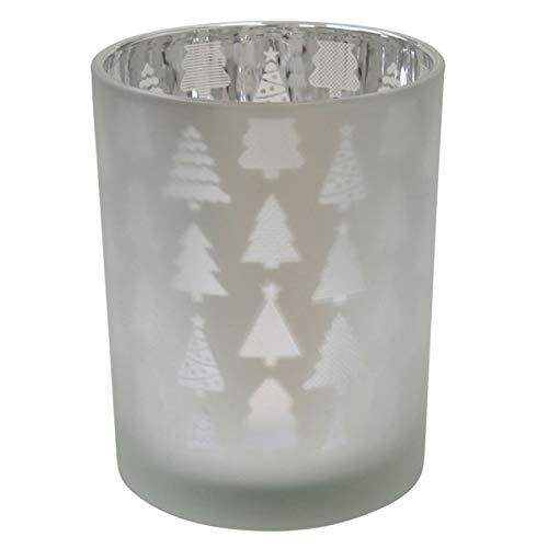 Krasilnikoff - Teelichthalter - Votive - Weihnachtsbäume - Glas - Silber - Ø 10cm