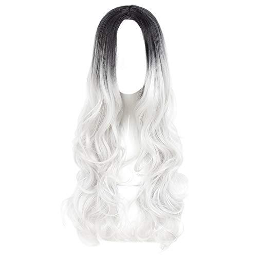 Damen Frauen Perücke Glamourös Haarteil Ombre Fashion Hitzeresistente Natürlich Aussehende Glueless Qualitativ Hochwertige Für Damen Party Cosplay,Gray