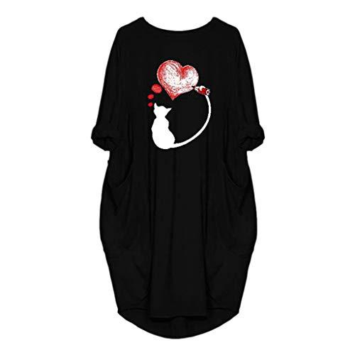 Damen Mehrfarbig Loose Kleider Frauen Rundhalsausschnitt Tasche Lässig Lange Dress Stylish Vintage Maxikleider Plus Size Party Club Kleid Oberteile