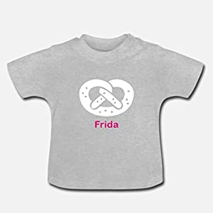 Baby T-Shirt mit WUNSCHNAMEN >Brezel< / Mädchen, Junge, weiß, pink, blau, München, Bayern, Brezel, Geburt, Ostern, Baby…