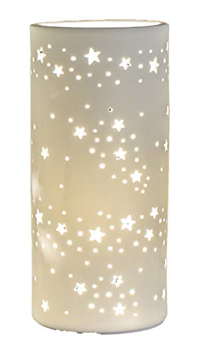 Formano - Porzellan-Lampe Stern - Winterliche Tischleuchte Nachttischlampe Nachttischleuchte Stimmungslampe Weiss 11x24cm