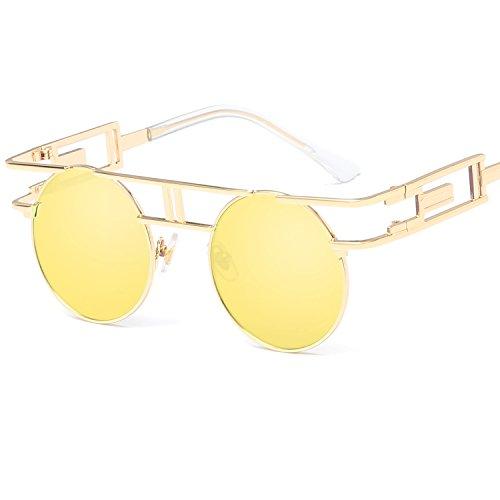 LANOMI Retro Sonnenbrille Rund Vintage Gothic Steampunk Metallrahmen Damen Herren Verspiegelt Brillen UV400 (Golden Rahmen mit gelb Linsen)