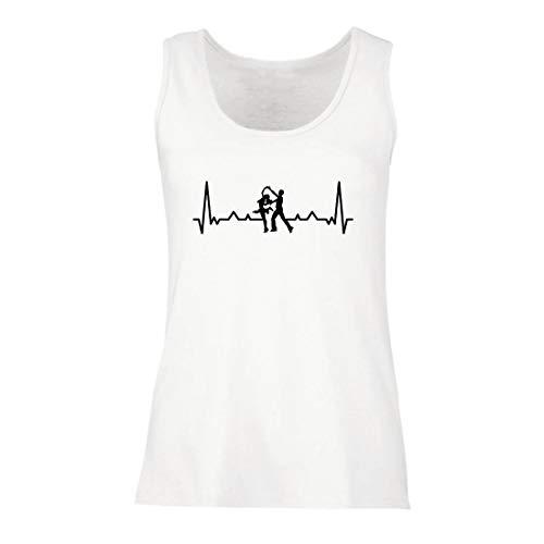 lepni.me Damen Tank-Top Tanzen mit Herzschlag, Tanz-Liebhaber-Shirt, Tänzer-Outfit (X-Large Weiß Mehrfarben)