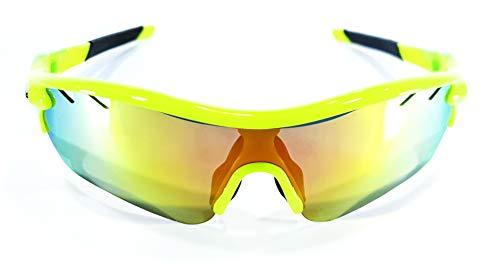 Brown Labrador Polarisierte Radsportbrille mit 5 Wechselgläsern UV 400 Sportbrille Running Trail Running, Mountainbike, für Damen und Herren, Jaune bleu