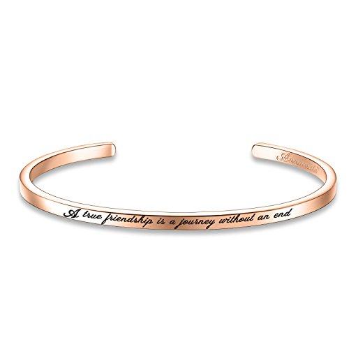 Annamate Armband mit Gravur Damen Armreif, Inspirationaler Motivationstext