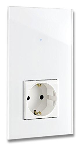 ROHDE+ROHDE weiße Touch-Schalter-Steckdosen Kombination, LED Anzeige. Qualität aus Deutschland. 5 J. Garantie** Sensor Panel aus Mammuth-Glas. 1-fach. Standardinstallation 230V. NOVA 11.01.03.025