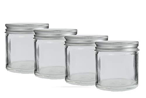 60ml Glas Kosmetik Döschen mit Aluminium Schraubdeckel. (Packung mit 4) Für Cremes, Kräuter, Kerzen usw.