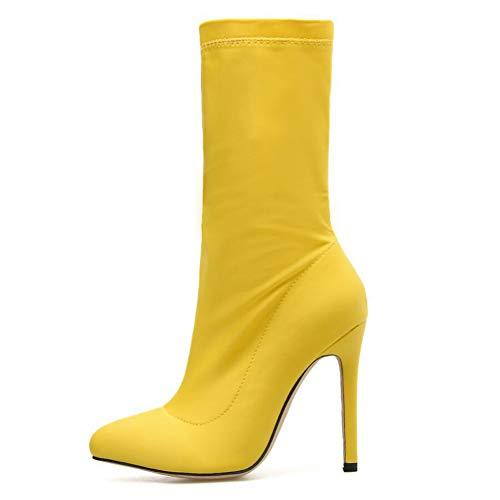 Wshyrabbit Bota Stiletto para Mujer Botines Elásticos Otoño E Invierno Botas para Mujer Europa Y América...