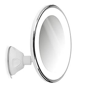 Navaris Vergrößerungsspiegel mit LED Beleuchtung Saugnapf – Spiegel mit 5fach Vergrößerung 360° schwenkbar – Badspiegel Makeup Kosmetikspiegel