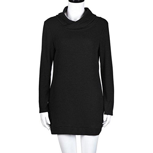 Robe pour femme,Tonwalk Manche courte Collier maille tricoté Mini Robe Noir