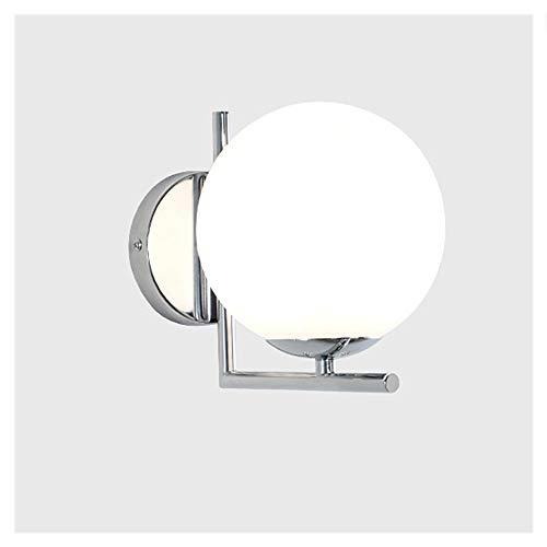 Aione E27 Runde Wandleuchten LED Glas Wandleuchte für Wohnzimmer Studie Schlafzimmer Goldene Halterung Backfarbe Prozess Modernes und Elegantes gebogenes Design Durchmesser 15cm,Silver - 525 Brillen