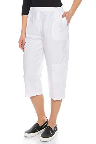 Kendindza Damen Sommer Capri-Hose | 3/4 Cargo-Shorts mit Taschen | Basic Uni-Farben (Weiß, XXL)