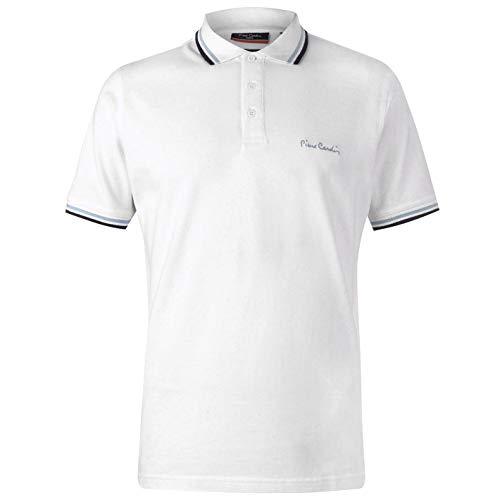 Pierre Cardin Herren Tipped Golf Polo Streifen Shirt Hemd Piquebasisch Einfach Arctic White XL -