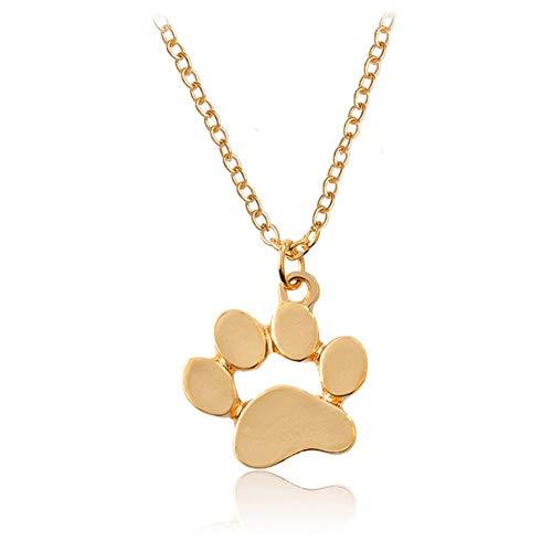 AILUOR Hundetatzen-Halskette, Nette Welpen-Tatzen-Druck-Anhänger Hohlen Herz Fußabdruck Halskette Memorial Schmuck Hundeliebhaber Gold Einstellbar -