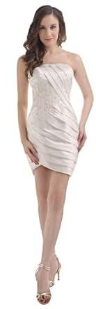 herafa p31512-8 Robes De Cocktail élégant Sans bretelle Sans manche Ruché Perles Délicates mini Gaine Blanc