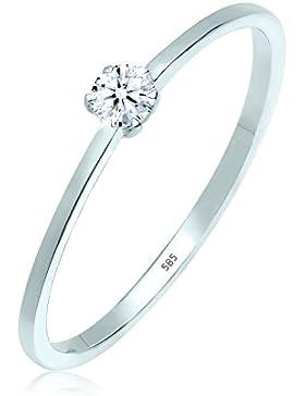 Elli PREMIUM Damen-Ring Verlobungsring 585 Weißgold Diamant (0.10 ct) weiß Brillantschliff