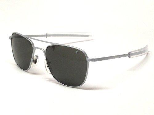 American Optical AO Original Pilot Aviator Sunglasses 57 mm Matte Chrome Bayonet True Color Gray Glass Lenses 30138 by AO Eyewear