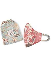 PS Pret by Payal Singhal Coral and Aqua Chidiya Print Reversible 3 Ply Face Mask with Pouch