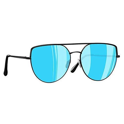 GFF Sonnenbrille Damenmode Flat Top Sonnenbrille Damen Vintage Retro Metall Twin-Beams Shades Spiegel UV400