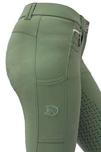 RidersDeal Collection Reithose mit Silikonvollbesatz und Handytasche für Damen, grün