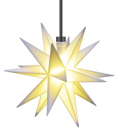 3D LED Stern Ø 12 cm Weihnachtsstern Batterie Ministern Außen Stern klein Leuchtstern Fenster Deko Wetterfest für außen und innen von Dekowelt (Weiß)