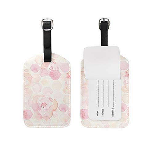 Pastel Yellow Label (Luggage Tags 2 Pieces Set Watercolor Abstract Hexagon Hexie Rose Pastel Yellow Blush Pink Peach Coral Flexible Travel ID Identification Labels Set for Bags & Baggage)