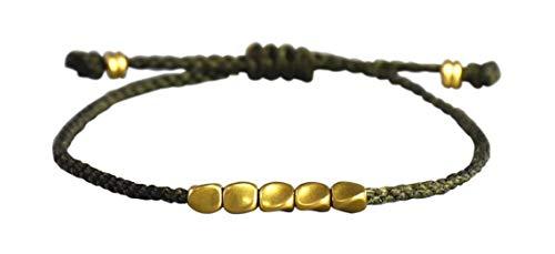 ⭐️ Lucky Buddhist Glücks-Armband aus Tibetisch-Buddhistischen Handgemachten Baumwolle Seilknoten. Viele Farben! ❤️ (Kupferperlen Grün)