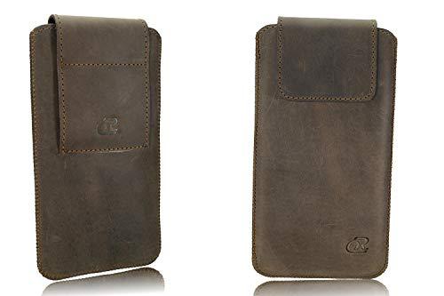 OrLine Echt Leder Gürtel Handytasche passend für Asus Padphone 2 Handy Tasche Braun
