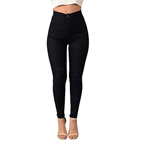 TWIFER Neue Craze Damen Mädchen Denim Jeans Multi Farben Lässige Jeans Hosen (M, Schwarz)
