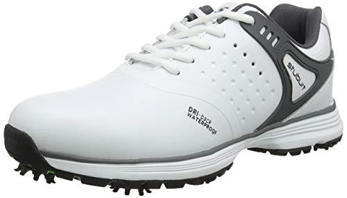 Stuburt SBSHU1110 - Scarpe da Golf da Uomo Evolve Tour Dri-Back, Impermeabili, con Borchie, Colore: Bianco/Storm, Misura 41