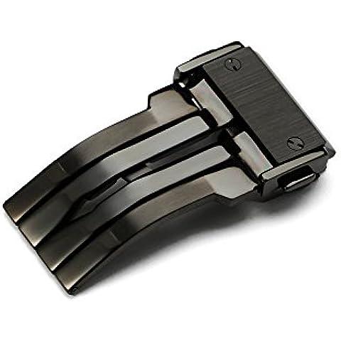 iStrap 22mm 316L acero inoxidable deployant hebilla para correas de reloj de cuero de goma Hublot–negro PVD