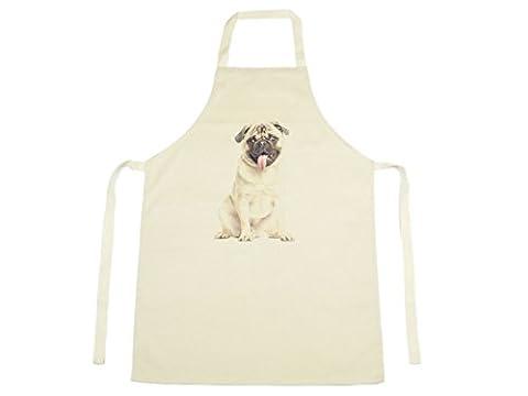 Jack Fairweather - Pug Watercolour Design Printed On Natural Cotton Apron Dog Puppy Pet Cute 1122