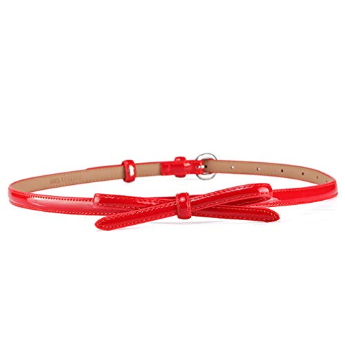 Fashion Echtes Leder Gürtel Für Frauen Glatte Malerei Dornschließe Ledergürtel Frauen Mode Bowknot Dekoration Red 91cm -