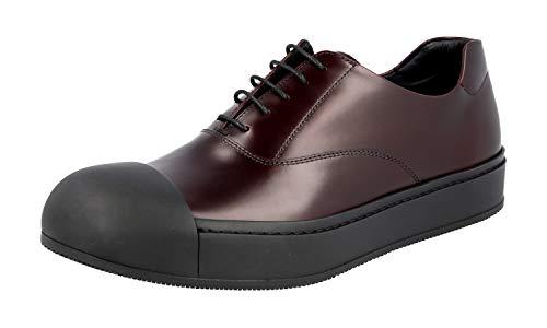 Prada 2EG221 B4L F0403 Herren Business-Schuhe aus gebürstetem Spazzolato-Leder, Braun (Granato), 39 EU - Schuhe Männer Kleid Prada