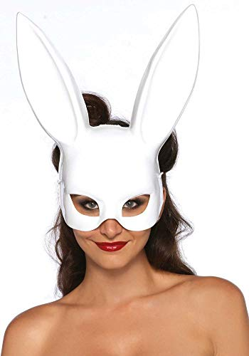 shoperama Verruchte Hasenmaske von Leg Avenue Bunny Halbmaske sexy Kinky Rollenspiele Maske, Farbe:Weiß