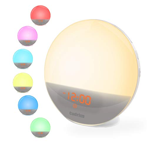 Wake Up Light,Cadrim Lámpara Despertador Luz Nocturna Adaptador de LED + Cable USB Control Táctil Salida del Sol,Puesta del Sol,Radio FM,6 Sonidos Naturales,7 Colores